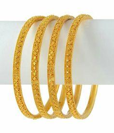 Bracelet Models - Gold bangles - My Popular Photo Plain Gold Bangles, Gold Bangles Design, Gold Jewellery Design, Gold Jewelry, Jewellery Diy, Fashion Jewelry, Bridal Bangles, Bridal Necklace, Necklace Set