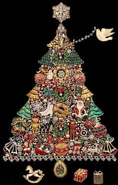 Vintage Christmas Crafts, Christmas Jewelry, Diy Christmas Gifts, Christmas Buttons, Christmas Stuff, Christmas Time, Jeweled Christmas Trees, Christmas Tree Art, Christmas Spider