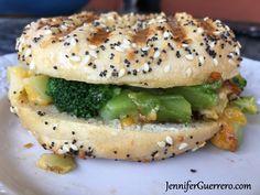 Jen's Hulk Bagel. Or a fabulous way to get a kiddo to love eating a quarter pound of broccoli. JenniferGuerrero.com How To Press Tofu, Panini Press, Hot Steam, Frozen Broccoli, Love Eat, Junk Food, Kitchen Gadgets, Hulk, Bagel