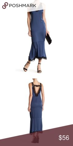 "Dress Forum Lace Trimmed Maxi Dress in Navy M NEW Dress Forum Lace Trimmed Maxi Dress in Navy M NEW      - V-neck     - Sleeveless     - Lace trim detail     - Flared hem     - Approx. 55"" length  Fiber Content     100% polyester Care     Hand wash Additional Info     Fit: this style fits true to size. Dress Forum Dresses Maxi"