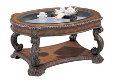 Traditional Antique Brown Wood Glass Coffee Table