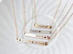 Thin Bar Necklace - Gold Bar Necklace Personalized Name Necklace Date Necklace Dog Paw Print Engraved Bar Necklace Nameplate Necklace
