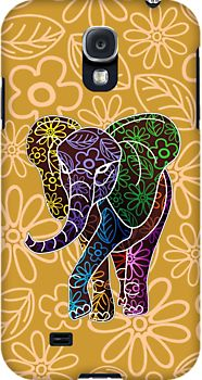 Elephant Floral Batik Art Design by BluedarkArt