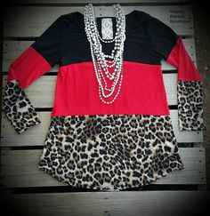 Mission Leopard Red Color Block Top