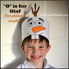 "Every week I do an alphabet craft with a group of Preschoolers, and this week we did ""O"" is for Olaf. All the kids in my class made these adorable Olaf hats. How cute is my 5 year old in his Olaf hat? To make your own hat: 1) Download a pdf ver"