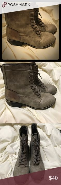 Combat boots (booties)- Madden Girl Barely worn. Great condition!!!!!!!! A taupe/ grey color.  Feel free to make an offer!!!! Steve Madden Shoes Combat & Moto Boots