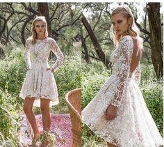 b4a549547c3 Short Lace Wedding Dresses 2018 Glamorous A Line Backless Sexy Sheer Long  Sleeves Garden beach boho