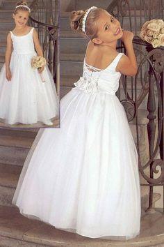 A-Line Scoop Natural Waist Long Satin White Flower Girl Dresses - Flower Girl Dresses - Wedding Party Dresses