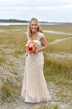 Off white wedding dress idea - champagne-colored wedding dress with capped sleeves and allover beading {Donna Von Bruening Photographers}