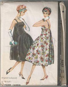 Uncut Pierre Cardin Cocktail Dress Sewing Pattern McCalls 4697 Bouffant Panel…