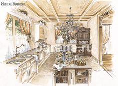 Эскизы интерьеров Ирены Барене Fair Grounds, Sketch, Interior, House, Ideas, Chalets, Sketch Drawing, Indoor, Home