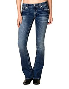 New Trending Denim: Miss Me Womens Medium Wash Embellished Bootcut Jeans Blue 29. Miss Me Women's Medium Wash Embellished Bootcut Jeans Blue 29   Special Offer: $99.50      222 Reviews Denim from Miss Me adds a casually elegant flair to any outfit. These striking mid-rise bootcut jeans feature classic medium wash with fading and are made from a denim/spandex blend...