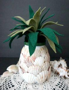 diy seashell pineapple jar, crafts, home decor, repurposing upcycling