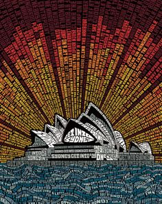 """This tourism ad for the city of Sydney, Australia extolls the virtues of the area in the form of a typographic illustration of the Sydney Opera House. The text reads, among many other things, """"Dine on kangaroo"""", """"Cuddle a koala"""" and """"Surf at Bondi."""""""