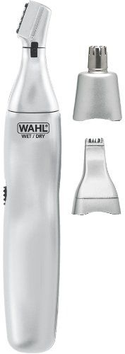 The wahl ear nose & brow - 3 in 1 trimmer (rotary pen and reciprocating) is battery operated and includes an eyebrow guide comb protective cap wet dry silver and english/spanish instructions....