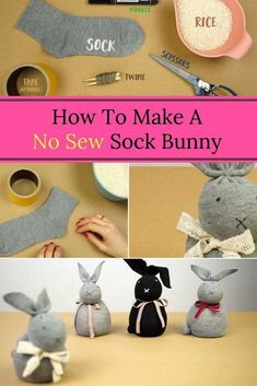 How To Make A No Sew Sock Bunny crafts ideas crafts crafts crafts Unique Art Projects, Art Projects For Adults, Sewing Projects For Beginners, Sewing Tutorials, Sewing Crafts, Sewing Hacks, Sewing Tips, Diy Projects, Sewing Ideas