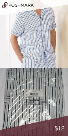 Men s Sleep Shirt Haband Button Up Large Striped Men s Sleep Shirt Haband  Button Up Large Blue f607fc2da