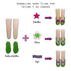 Saldalias para Tilda, Tilda shoes por Tatina y su canesú
