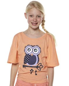 SURFSTITCH - KIDS - GIRLS CLOTHING - FASHION TOPS - EVES SISTER KIDS OLETA OWL TOP - APRICOT MARLE