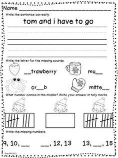 January Morning Work ~ Kindergarten