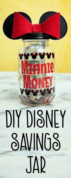 Saving for Disney DIY Disney Savings Jar ♥ Fleece Fun I love this Saving for . - Saving for Disney DIY Disney Savings Jar ♥ Fleece Fun I love this Saving for Disney DIY Disney S - Disney Crafts For Kids, Crafts For Teens To Make, Crafts To Sell, Easy Crafts, Diy And Crafts, Diy Disney Gifts, Summer Crafts, Kids Crafts, Diy Gifts