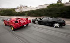 1988 Lamborghini Countach 5000QV And 1993 Ferrari 512 TR Rear Left side by side