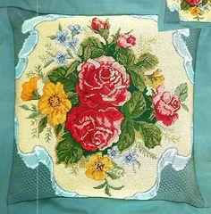 Candamar Silk Ribbon and Roses Pillow/Picture Needlepoint Kit ~ NIP