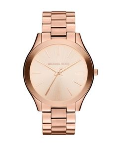 Mid-Size Rose Golden Stainless Steel Runway Three-Hand Watch by Michael Kors at Neiman Marcus. 195.00