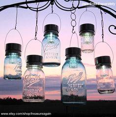 Garden Solar Jar Lights 6 Hanging Mason Jar Solar by treasureagain, $58.00