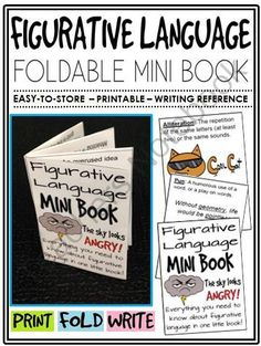 Figurative Language Mini-Book (foldable, printable, fun-filled resource!) from The Classroom Sparrow on TeachersNotebook.com - (7 pages) - This mini-book is a great addition to any English Language Arts classroom and suitable for a variety of levels. Students no longer have an excuse for misplacing their notes.