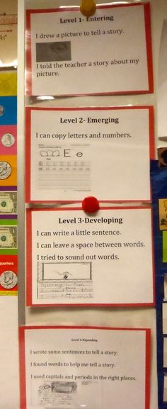 WIDA-ELL Kinder Can Do descriptors for students to reference their writing. Language learners use these to grade their own writing pieces.
