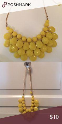 T &J Designs Statement Necklace Beautiful lemon teardrop bib statement necklace; yellow acrylic stones; multi strand beading; gold tone adjustable length chain T&J Designs Jewelry Necklaces