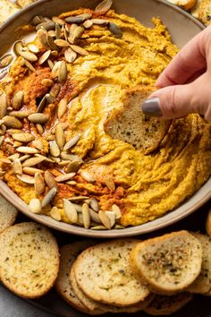 Savory sage pumpkin hummus is a MUST try! It's delicious AND healthy with this easy recipe and so simple to make with basic ingredients in the blender or the food processor. It's also casually vegan and gluten-free. Savory Pumpkin Recipes, Healthy Pumpkin, Vegan Pumpkin, Thanksgiving Recipes, Fall Recipes, Vegan Recipes, Cooking Recipes, Pesto, Courge Spaghetti