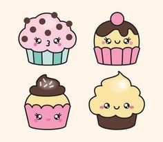 Prämie Vector Clipart  Kawaii Cup Cakes  süße Cupcakes