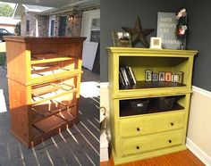 For the Home Dishfunctional Designs: Upcycled Dressers: Painted, Wallpapered & Decoupaged pt 2 How t Recycled Decor, Refurbished Furniture, Repurposed Furniture, Furniture Makeover, Dresser Repurposed, Repurposed Items, Furniture Projects, Furniture Making, Home Projects
