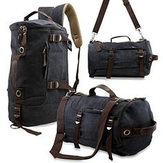Oct17 Men's Vintage Canvas Hiking Backpack School Travel Duffel Camping Sport Rucksack Satchel Messenger Bag (Black) #chevron #kavu #bags