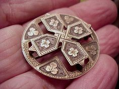 Stunning Victorian Sterling and Gold Brooch c. 1880 w Flowers + Clovers- Irish?