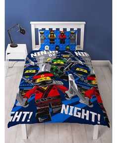 This Lego Ninjago Movie Ninja Single Duvet Cover Set features Jay, Kai, Zane, Lloyd and Cole and is reversible too. Free UK delivery available