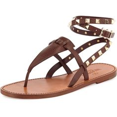 Valentino Rockstud Ankle-Wrap Thong Sandal featuring polyvore, fashion, shoes, sandals, flats, chocolate, summer sandals, strappy flat sandals, flat leather sandals, flat thong sandals and leather gladiator sandals