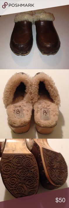 Authentic mules Leather & shearling mules. 2' heels. Signature name on outer foot. Minor scratch on leather. Easy fix with polish. Some wear on rubber soles. Cute & comfy UGG Shoes Mules & Clogs