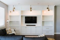 White Entertainment Center Built in w columns – entertainment center ideas living room Built In Shelves Living Room, Built In Wall Units, Tv Built In, Living Room Wall Units, Basement Living Rooms, Built In Cabinets, Home Living Room, Built In Tv Cabinet, Tv Cabinets