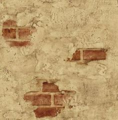 Wallpaper Designer Tuscan Tan Stucco Wall with Red Exposed Brick - Amazon.com
