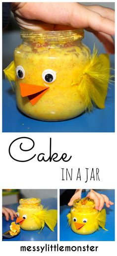 Cake in a jar- A fun Easter Chick activity for kids.