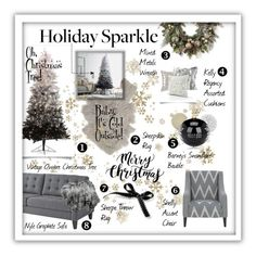"""Holiday Sparkle."" by style-queen-kc-nigz ❤ liked on Polyvore featuring interior, interiors, interior design, home, home decor, interior decorating, Pier 1 Imports, Winward, Frontgate and Broste Copenhagen"