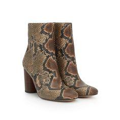 Corra Stacked Heel Bootie by Sam Edelman - Brown Snake Print - View 1