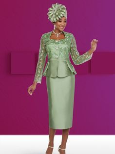 Style 48137 from Ben Marc is a two piece Satin Twill women's church suit that has a 25 inch sheer embellished jacket and a 32 inch skirt. Church Dresses For Women, Women Church Suits, Suits For Women, Church Attire, Church Outfits, First Lady Church Suits, Classy Suits, Church Fashion, Dressy Dresses