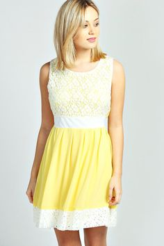 Larna Lace Contrast Panel Skater Dress #yellow