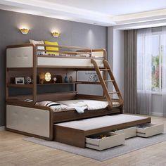 Attractive Triple Bunk Bed Design Ideas For Your Kids Bedroom Design Bunk Beds For Girls Room, Bunk Bed Rooms, Kid Beds, Kids Bedroom, Bedrooms, Kids Rooms, Bunk Bed Steps, Bunk Beds With Stairs, Cool Bunk Beds