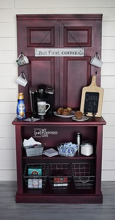 How to make a coffee station cabinet using a door and a dresser. Step by step tutorial will give you tips and ideas to make your own coffee station project (Diy Bar Bookshelf) Furniture Projects, Furniture Makeover, Diy Furniture, Diy Projects, Painting Furniture, Make Your Own Coffee, Barn Door Designs, Sliding Barn Door Hardware, Sliding Doors