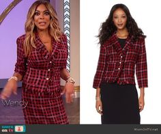 71a3cbdaa082 Wendy s red check jacket and skirt on The Wendy Williams Show